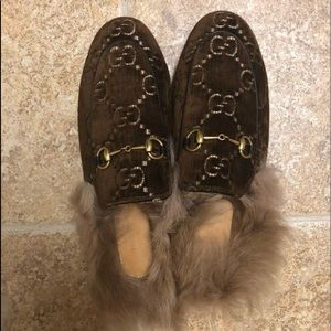Gucci Velvet GG Princetown Slippers Authentic